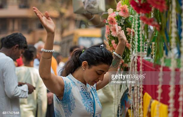 Devotees take part in Jagannath Rath Yatra organised by ISKCON with religious fervour and enthusiasm at Shivaji Park on January 14 2017 in Mumbai...