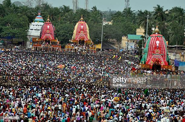 Devotees throng around the chariots as ditties annual Bahuda Yatra festival or return chariot festival on the end day of the Lord Jagannath Brother...