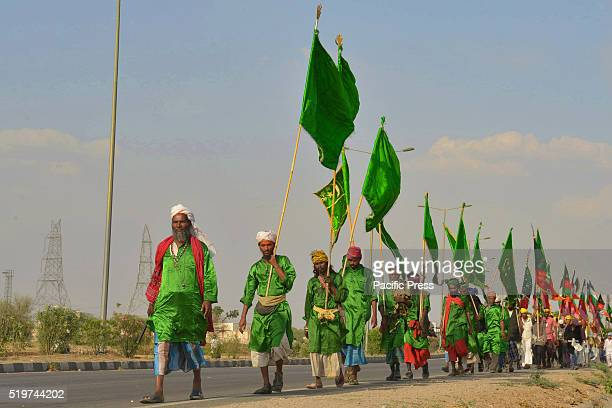 Devotees walking from Delhi khwza qutubudin dargah to participate in the Urs festival at the shrine of Sufi saint Khwaja Moinuddin Chishti Thousands...