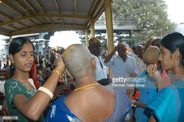 Devotees who have offered their hairs to Lord Venkateswara Temple area at Tirumala Tirupati Andhra Pradesh