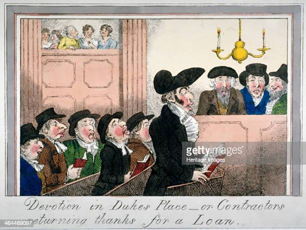 'Devotion in Duke's Place or contractors returning thanks for a loan' c1818 A small section of Duke's Place Synagogue depicted with two rows of...