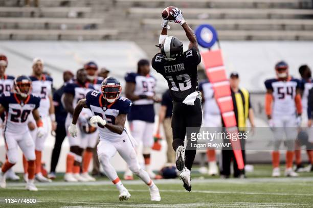 DeVozea Felton of Birmingham Iron makes a catch during their Alliance of American Football game against the Orlando Apollos at Legion Field on March...