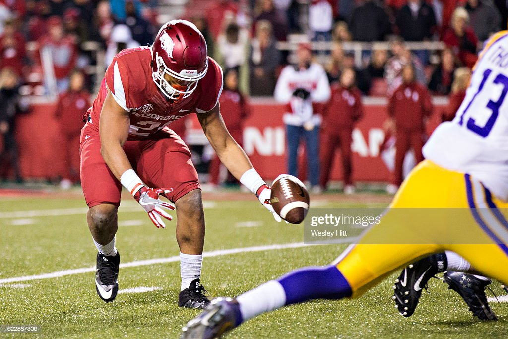 Devwah Whaley #21 of the Arkansas Razorbacks fumbles the ball at the goal line near the end of a game against the LSU Tigers at Razorback Stadium on November 12, 2016 in Fayetteville, Arkansas. The Tigers defeated the Razorbacks 38-10.