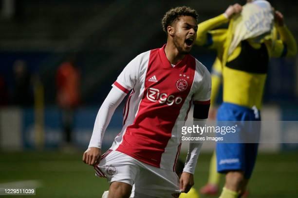 Devyne Rensch of Ajax U23 celebrates 2-2 during the Dutch Keuken Kampioen Divisie match between SC Cambuur v Ajax U23 at the Cambuur Stadium on...