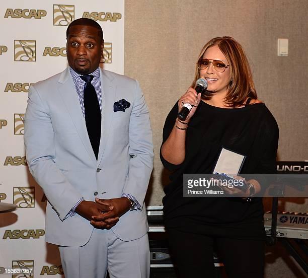 Devyne Stephens and Perri Pebbles Reid attend the ASCAP RB Soul ATL Legends Mixer at the W Atlanta Midtown on September 26 2012 in Atlanta Georgia