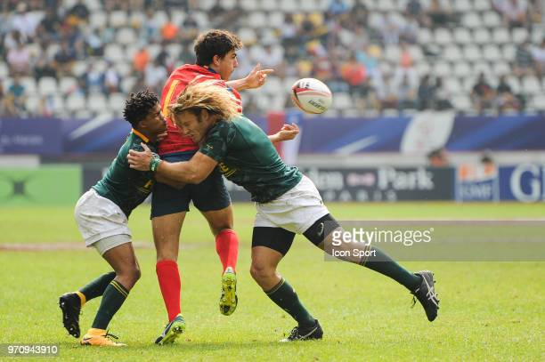 Dewald Human of South Africa Alejandro Alonso of Spain and Werner Kok of South Africa during the match between South Africa and Spain at the HSBC...