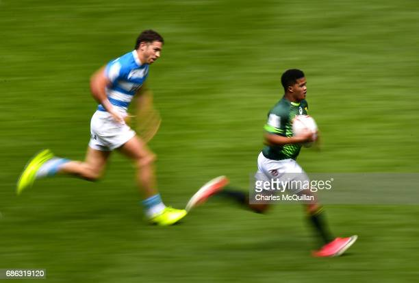 Dewald Human of South Africa and Gaston Revol of Argentina during the HSBC London Sevens at Twickenham Stadium on May 21 2017 in London United Kingdom