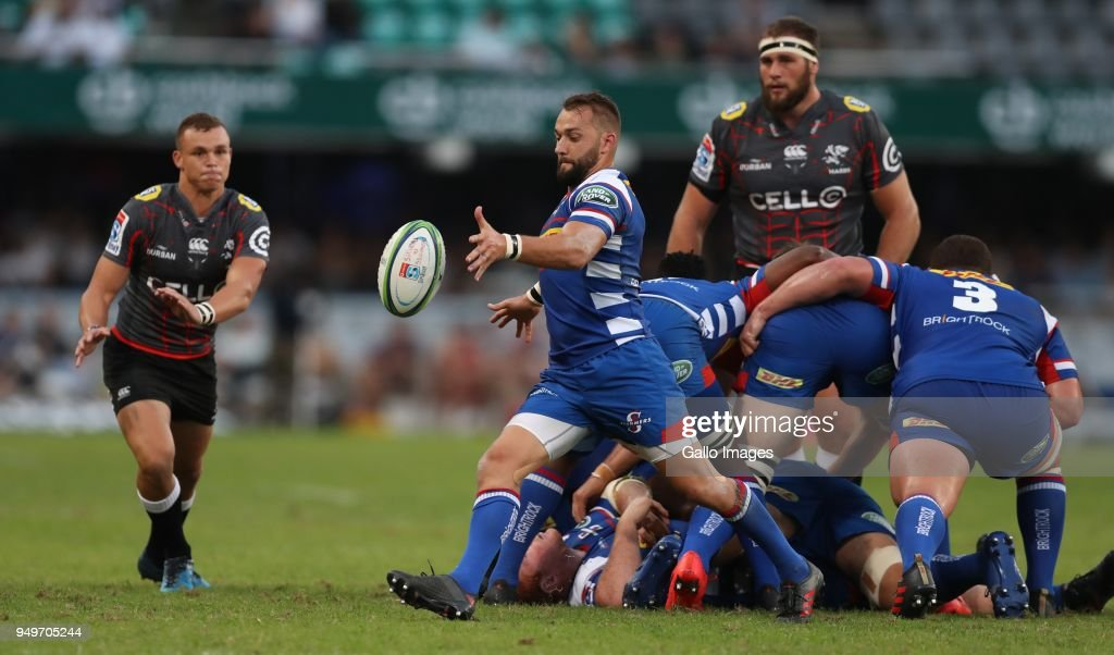 Dewaldt Duvenage of The DHL Stormers during the Super Rugby match between Cell C Sharks and DHL Stormers at Jonsson Kings Park on April 21, 2018 in Durban, South Africa.