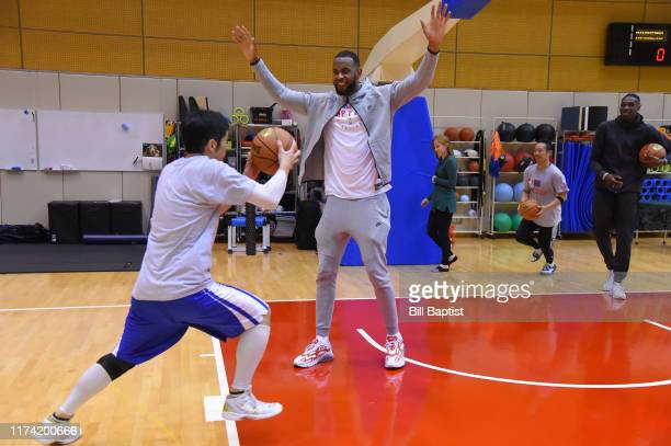 Dewan Hernandez of the Toronto Raptors during the NBA Cares Special Olympics Unified Clinic part of the 2019 NBA Japan Games at a training facility...