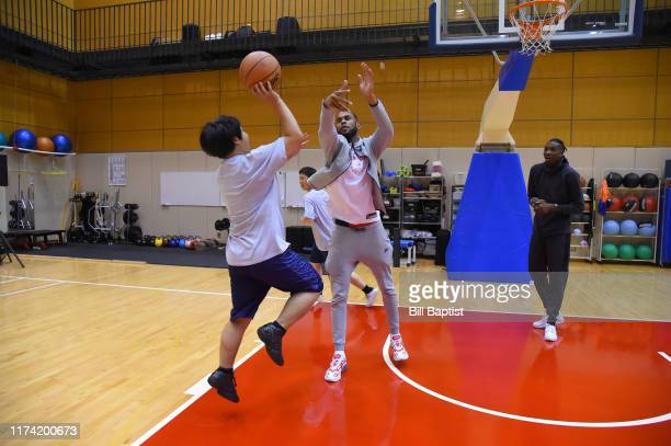 Dewan Hernandez of the Toronto Raptors participates during the NBA Cares Special Olympics Unified Clinic part of the 2019 NBA Japan Games at a...