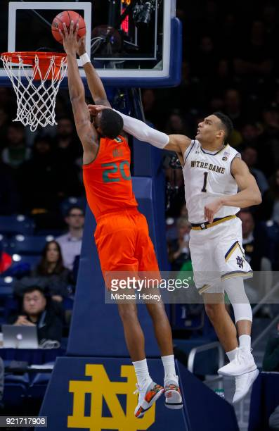 Dewan Huell of the Miami Hurricanes shoots the ball as Austin Torres of the Notre Dame Fighting Irish defends at Purcell Pavilion on February 19 2018...