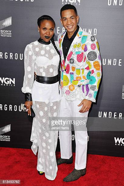 DeWanda Miller and Alano Miller arrive at the Premiere of WGN America's 'Underground' at The Theatre at The Ace Hotel on March 2 2016 in Los Angeles...