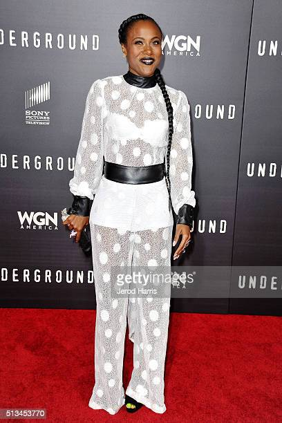DeWanda Miller arrives at the Premiere of WGN America's 'Underground' at The Theatre at The Ace Hotel on March 2 2016 in Los Angeles California
