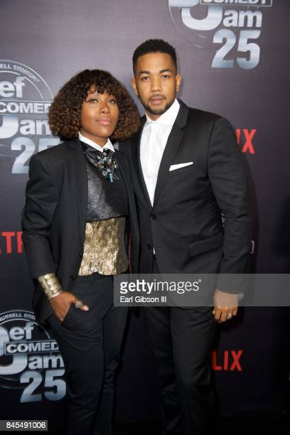 DeWanda Wise and husband Alano Miller attend Netflix Presents Russell Simmons Def Comedy Jam 25 Special Event at The Beverly Hilton Hotel on...