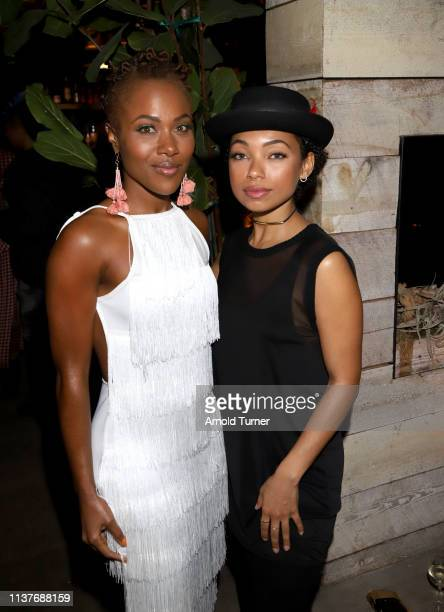 DeWanda Wise and Logan Browning attend Netflix's NAACP Image Awards Nominee Celebration at Hinoki & The Bird on March 22, 2019 in Los Angeles,...