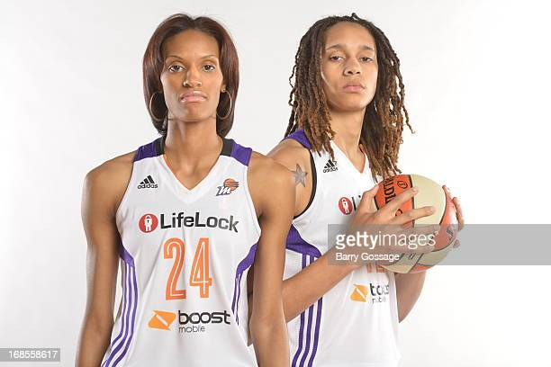 DeWanna Bonner and Brittney Griner of the Phoenix Mercury poses for a photo during 2013 Phoenix Mercury Media Day on May 10 2013 at US Airways Center...