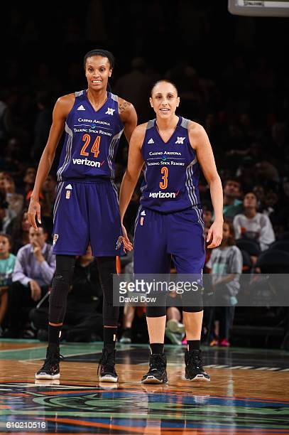 DeWanna Bonner and Diana Taurasi of the Phoenix Mercury look on during the game against the New York Liberty during Round Two of the 2016 WNBA...
