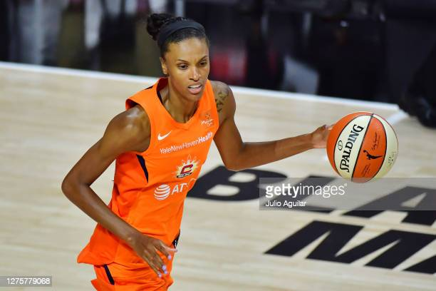 DeWanna Bonner of the Connecticut Sun dribbles during the second half of Game 2 of their Third Round playoffs against the Las Vegas Aces at Feld...