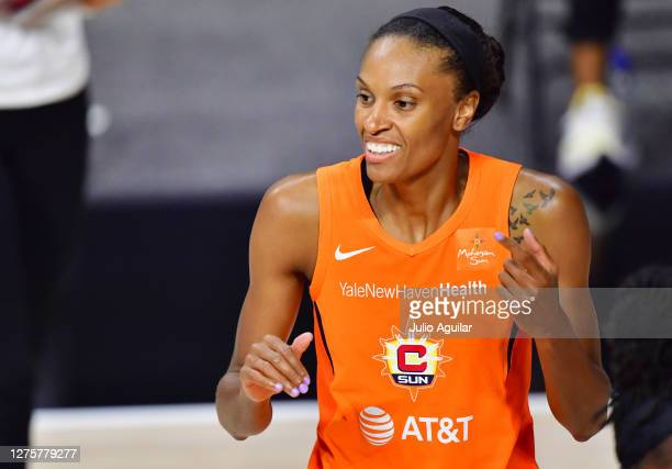 DeWanna Bonner of the Connecticut Sun reacts during the second half of Game 2 of their Third Round playoffs against the Las Vegas Aces at Feld...