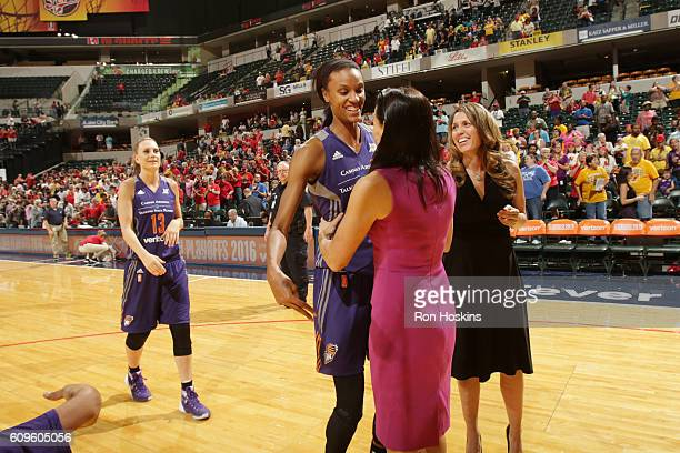 DeWanna Bonner of the Phoenix Mercury and head coach Sandy Brondello of the Phoenix Mercury celebrate after winning the game against the Indiana...
