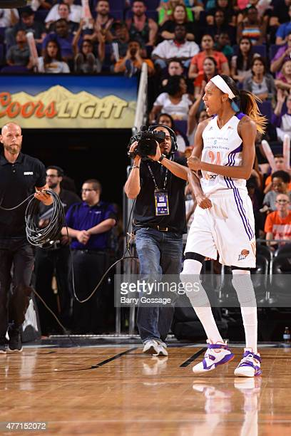 DeWanna Bonner of the Phoenix Mercury celebrates during the game against the Minnesota Lynx on June 14 2015 at Talking Stick Resort Arena in Phoenix...