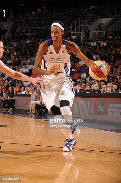 DeWanna Bonner of the Phoenix Mercury drives against the Minnesota Lynx during the WNBA Playoffs Western Conference Finals Game 2 on September 27...