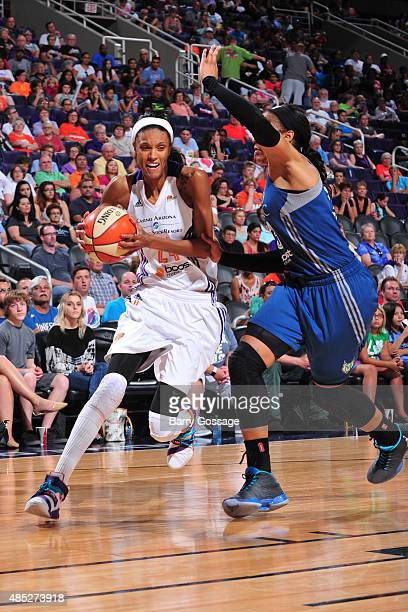 DeWanna Bonner of the Phoenix Mercury drives to the basket against the Minnesota Lynx on August 23 2015 at Talking Stick Resort Arena in Phoenix...