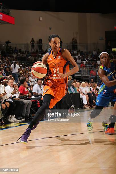 DeWanna Bonner of the Phoenix Mercury drives to the basket against the Dallas Wings on June 21 2016 at College Park Center in Arlington Texas NOTE TO...