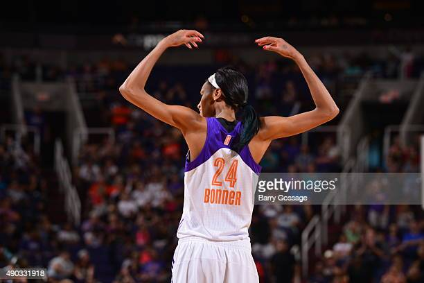 DeWanna Bonner of the Phoenix Mercury gets the crowd involved against the Minnesota Lynx during the WNBA Playoffs Western Conference Finals Game 2 on...