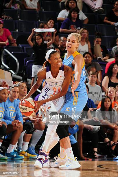 DeWanna Bonner of the Phoenix Mercury handles the ball against the Elena Delle Donne of the Chicago Sky on July 27 2015 at Talking Stick Resort Arena...