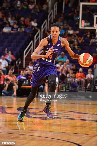 DeWanna Bonner of the Phoenix Mercury handles the ball during the game against the Connecticut Sun on May 31 2016 at the Talking Stick Resort Arena...
