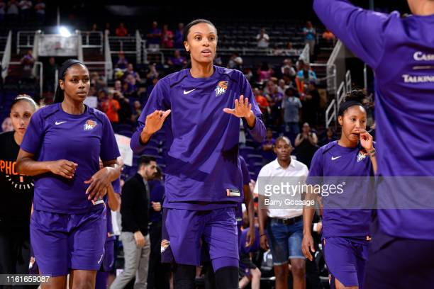 DeWanna Bonner of the Phoenix Mercury is introduced before the game against the Connecticut Sun on August 14 2019 at Talking Stick Resort Arena in...