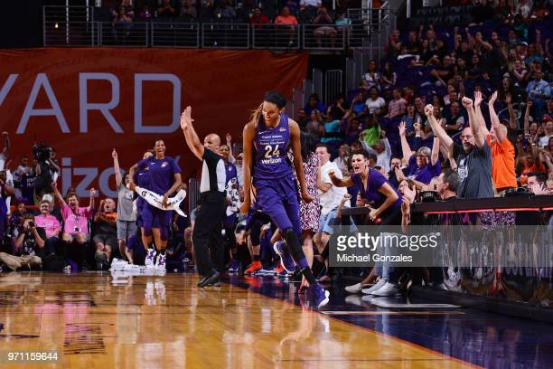 DeWanna Bonner of the Phoenix Mercury reacts during the game against the Las Vegas Aces on June 10 2018 at Talking Stick Resort Arena in Phoenix...