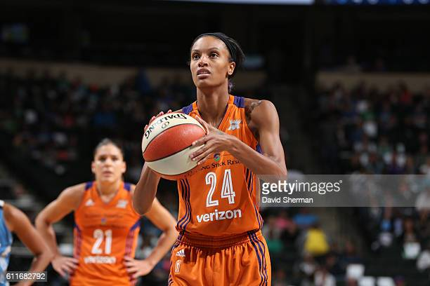 DeWanna Bonner of the Phoenix Mercury shoots a free throw against the Minnesota Lynx in Game Two of the Semifinals during the 2016 WNBA Playoffs on...