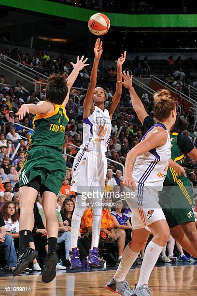 DeWanna Bonner of the Phoenix Mercury shoots against the Seattle Storm on July 12 2015 at US Airways Center in Phoenix Arizona NOTE TO USER User...