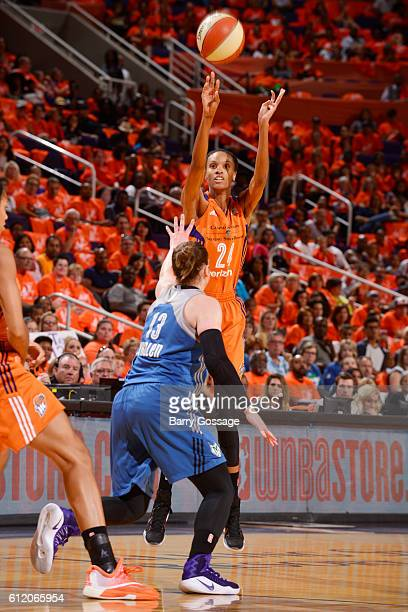 DeWanna Bonner of the Phoenix Mercury shoots the ball against the Minnesota Lynx in Game Three of the Semifinals during the 2016 WNBA Playoffs on...