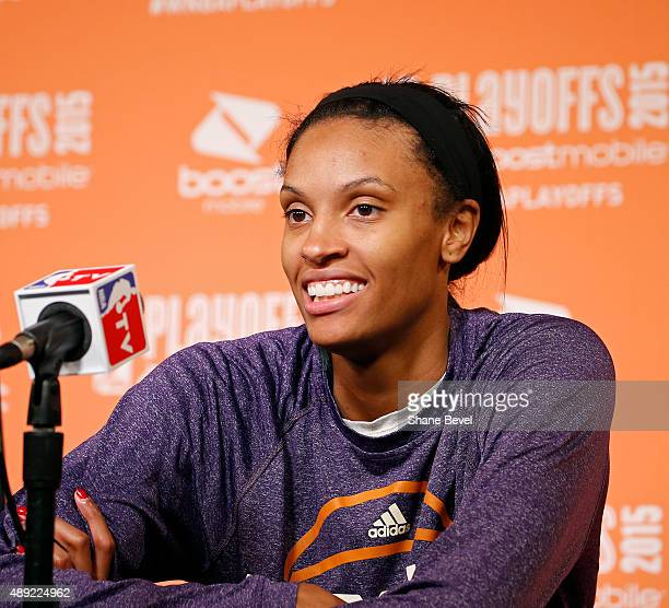 DeWanna Bonner of the Phoenix Mercury speaks to the media after Game Two of the WNBA Western Conference Semifinals against the Tulsa Shock on...