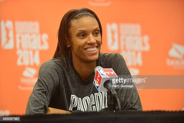 DeWanna Bonner of the Phoenix Mercury speaks with the media after after the Phoenix Mercury defeated the Chicago Sky in Game 2 of the 2014 WNBA...