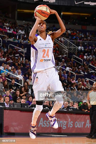 DeWanna Bonner of the Phoenix Mercury takes a shot against the Tulsa Shock on August 4 2015 at Talking Stick Resort Arena in Phoenix Arizona NOTE TO...
