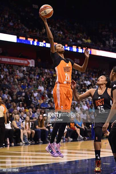 DeWanna Bonner of the Western Conference All Stars shoots the ball against the Eastern Conference All Stars during the Boost Mobile WNBA AllStar 2015...