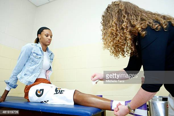 DeWanna Bonner of the Western Conference AllStars gets taped before the Boost Mobile WNBA AllStar 2015 Game at the Mohegan Sun Arena on July 25 2015...