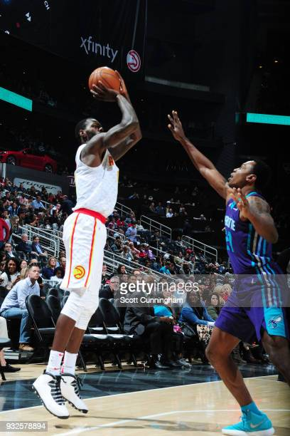 Dewayne Dedmon of the Atlanta Hawks against the Charlotte Hornets on March 15 2018 at Philips Arena in Atlanta Georgia NOTE TO USER User expressly...