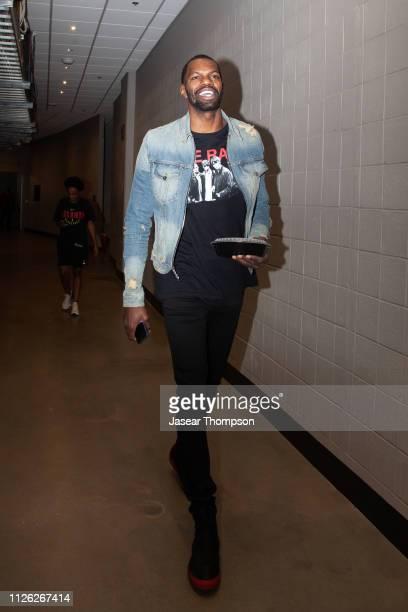 Dewayne Dedmon of the Atlanta Hawks arrives for the game against the New York Knicks on February 14 2019 at State Farm Arena in Atlanta Georgia NOTE...
