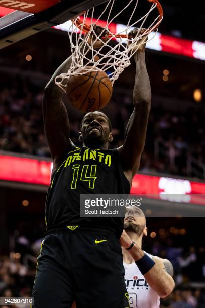 Dewayne Dedmon of the Atlanta Hawks dunks against the Washington Wizards during the second half at Capital One Arena on April 6 2018 in Washington DC...