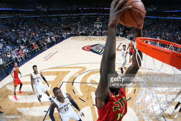 Dewayne Dedmon of the Atlanta Hawks dunks the ball against the New Orleans Pelicans on March 26 2019 at the Smoothie King Center in New Orleans...