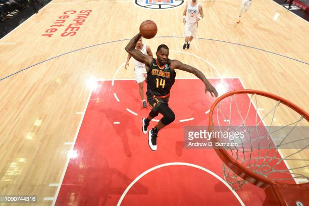 Dewayne Dedmon of the Atlanta Hawks dunks the ball against the LA Clippers on January 28 2019 at STAPLES Center in Los Angeles California NOTE TO...