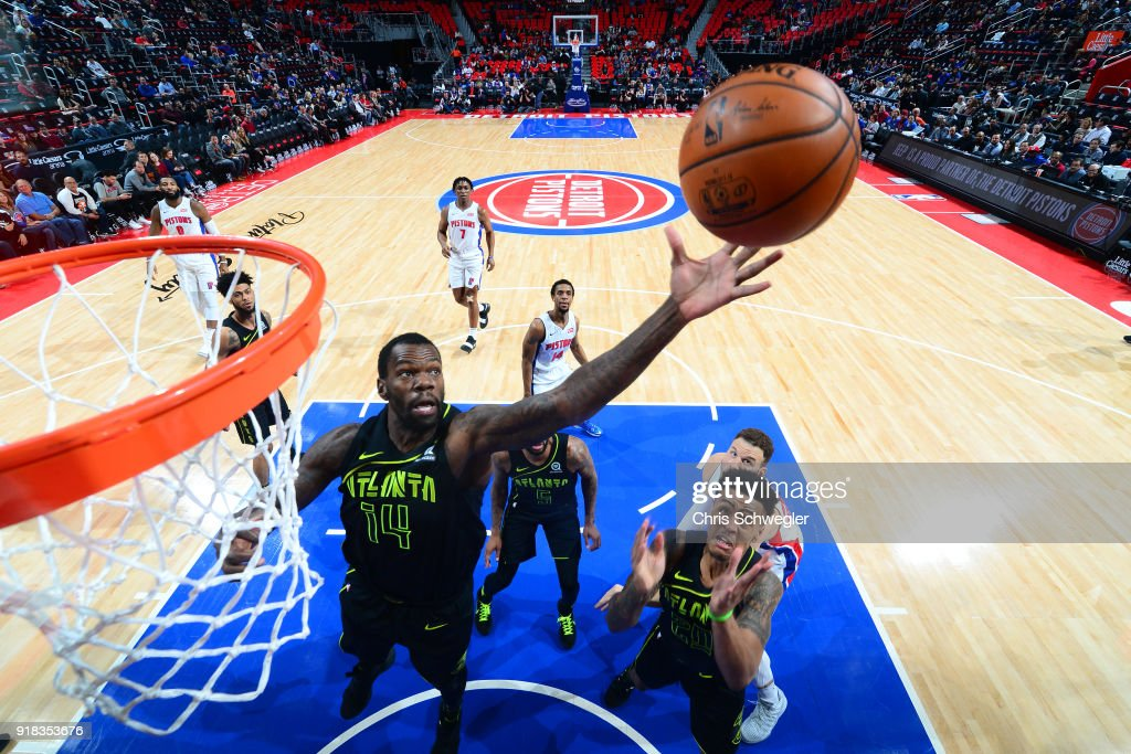 Dewayne Dedmon #14 of the Atlanta Hawks handles the ball against the Detroit Pistons on February 14, 2018 at Little Caesars Arena in Detroit, Michigan.