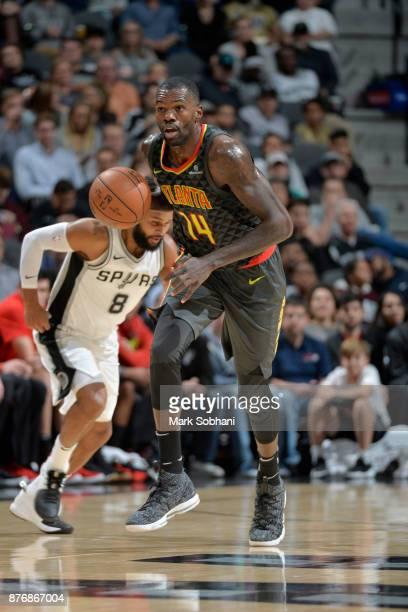 Dewayne Dedmon of the Atlanta Hawks handles the ball against the San Antonio Spurs on November 20 2017 at the ATT Center in San Antonio Texas NOTE TO...