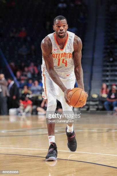Dewayne Dedmon of the Atlanta Hawks handles the ball during the 201718 NBA preseason game against the Memphis Grizzlies on October 9 2017 at McCamish...