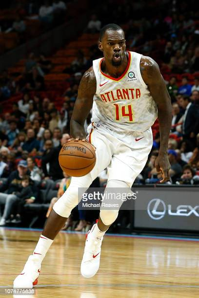 Dewayne Dedmon of the Atlanta Hawks in action against the Miami Heat at American Airlines Arena on November 27 2018 in Miami Florida NOTE TO USER...